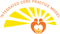 Illustration Logo of two figures forming a heart with sun rays for ICPM