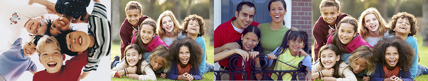 Multiple images of families and groups of youth as a banner