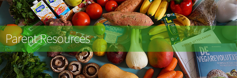 Banner photo of produce with Parent Resources Text overlay